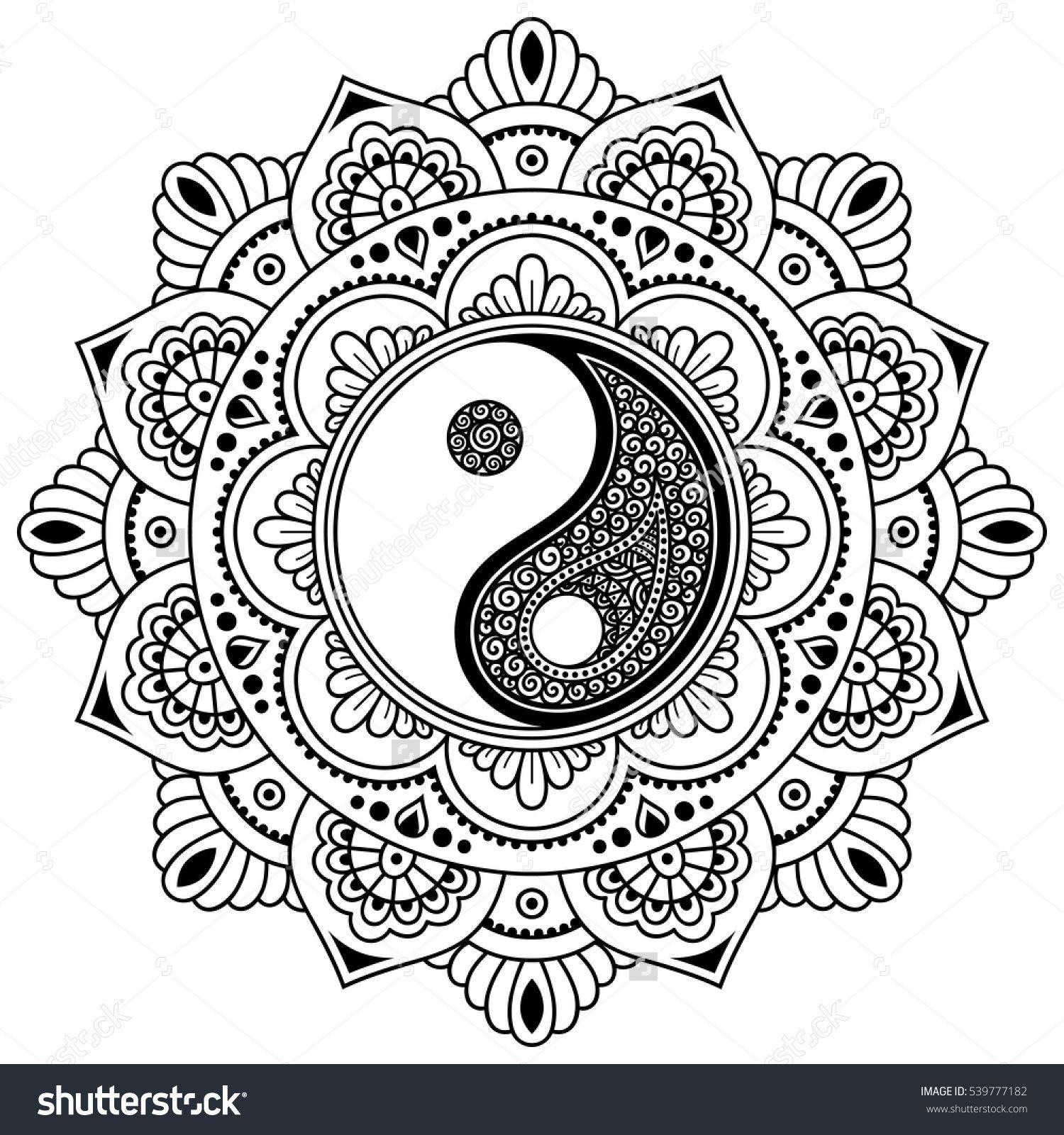 Vector henna tatoo mandalaYin yang decorative symbol Mehndi
