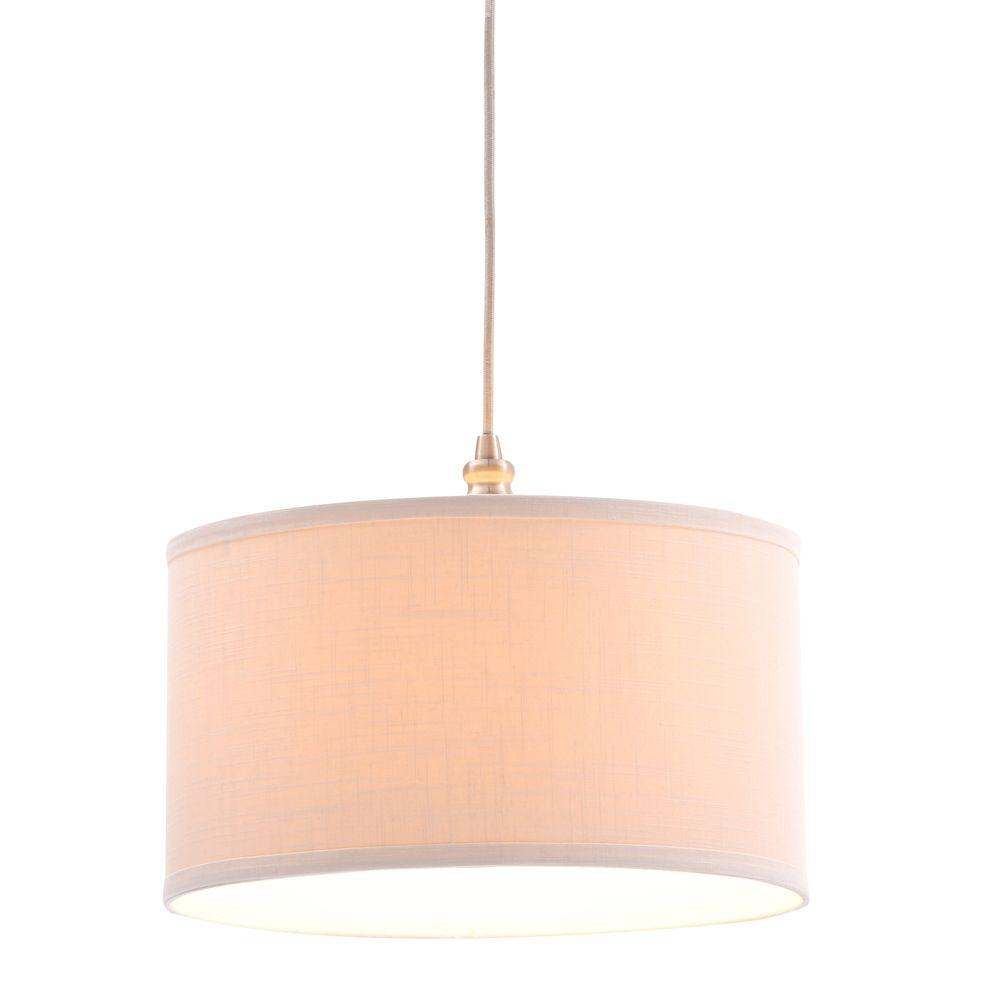 Hampton Bay Carroll 1 Light Brushed Nickel Pendant With Fabric