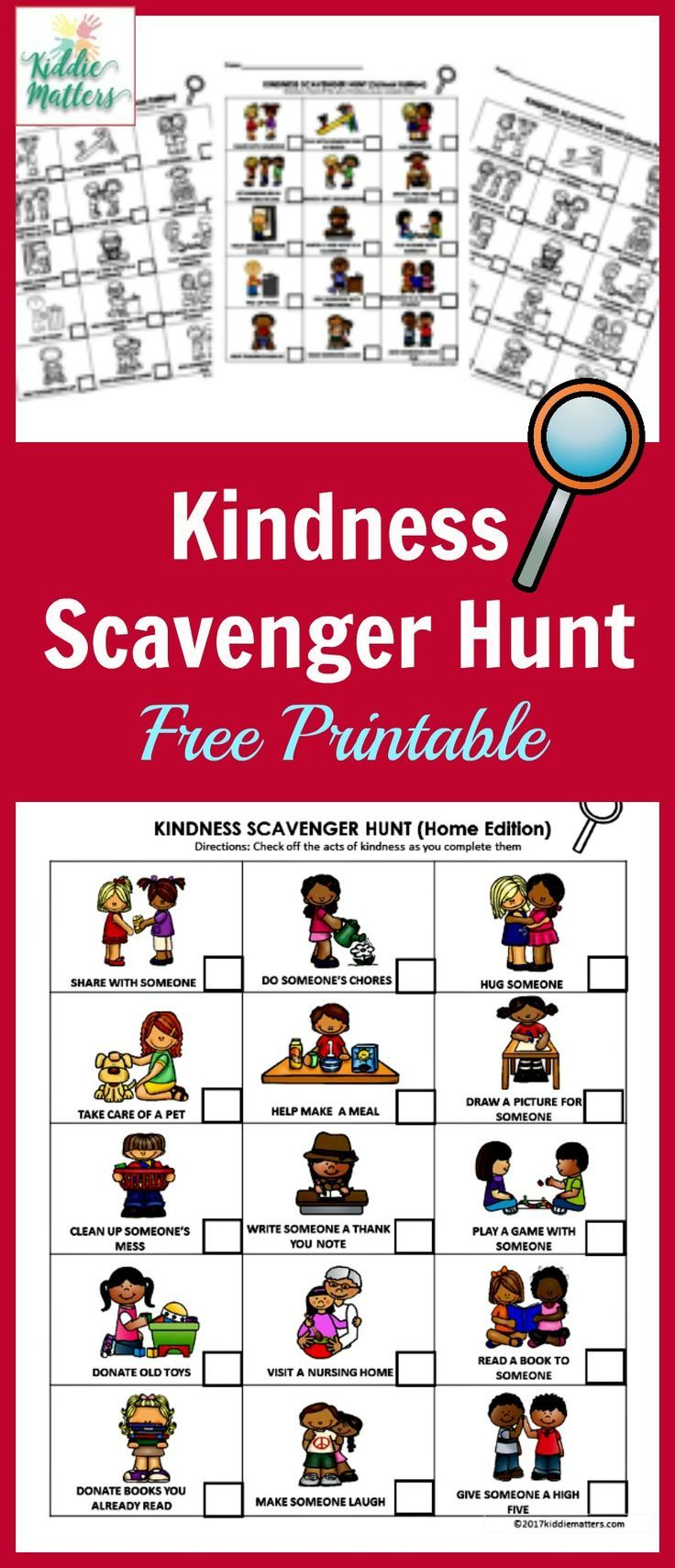 acts of kindness ideas for kids with free printable