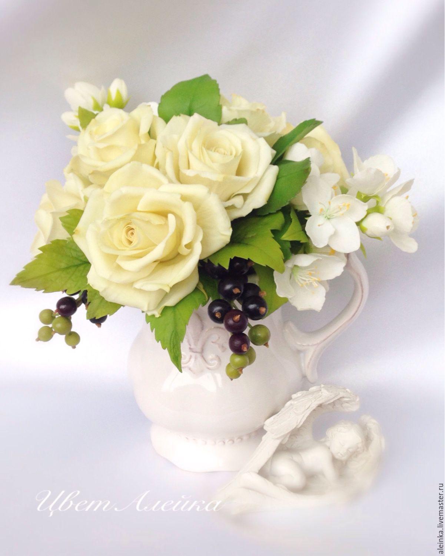 Купить Букет из холодного фарфора Поздравление Чайные розы - букет цветов, букет в чашке