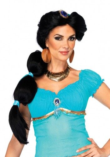 Aladdin lamp jasmine princess black fluffy super long braids girls cos wig