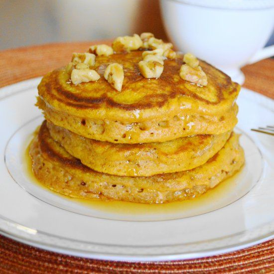 These pumpkin pancakes are so incredibly fluffy, light and full of incredible pumpkin spiced flavor. So perfect for a Fall brunch!