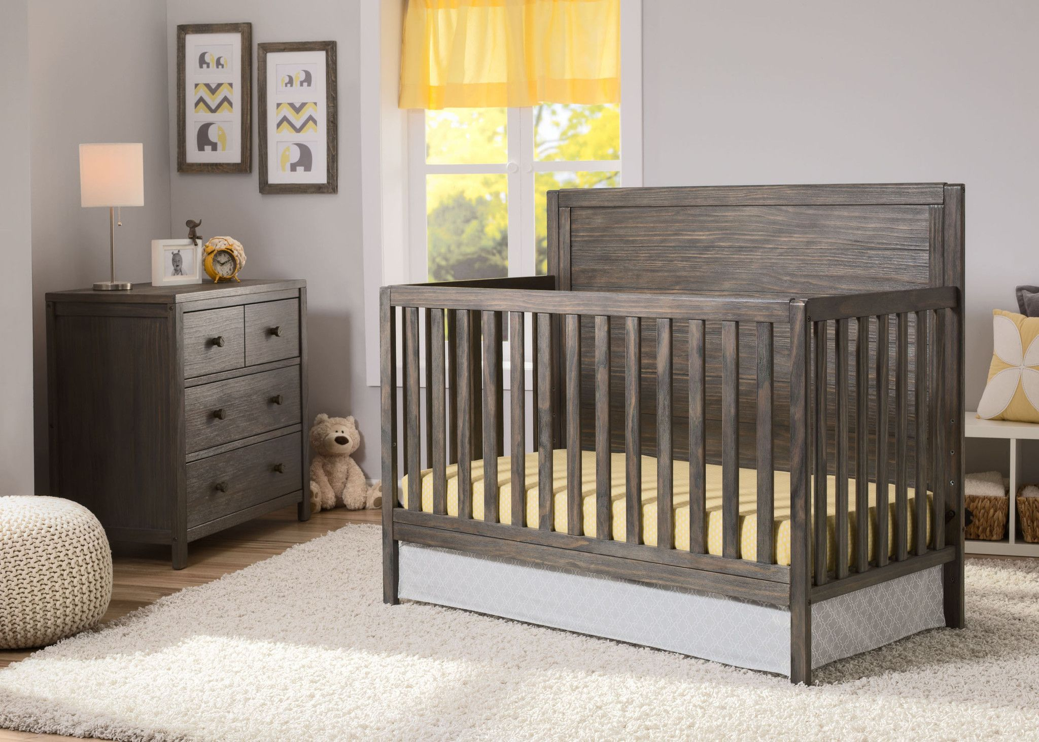 delta children rustic grey () cambridge in crib side view  - delta children rustic grey cambridge crib side view in setting