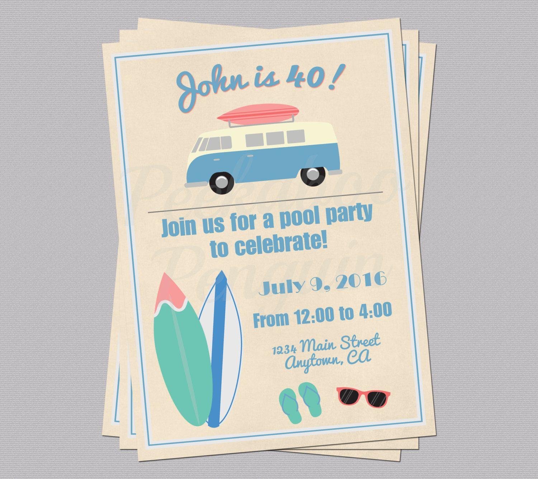 Vintage Beach Invitations Adult Birthday Invites Printable Beach