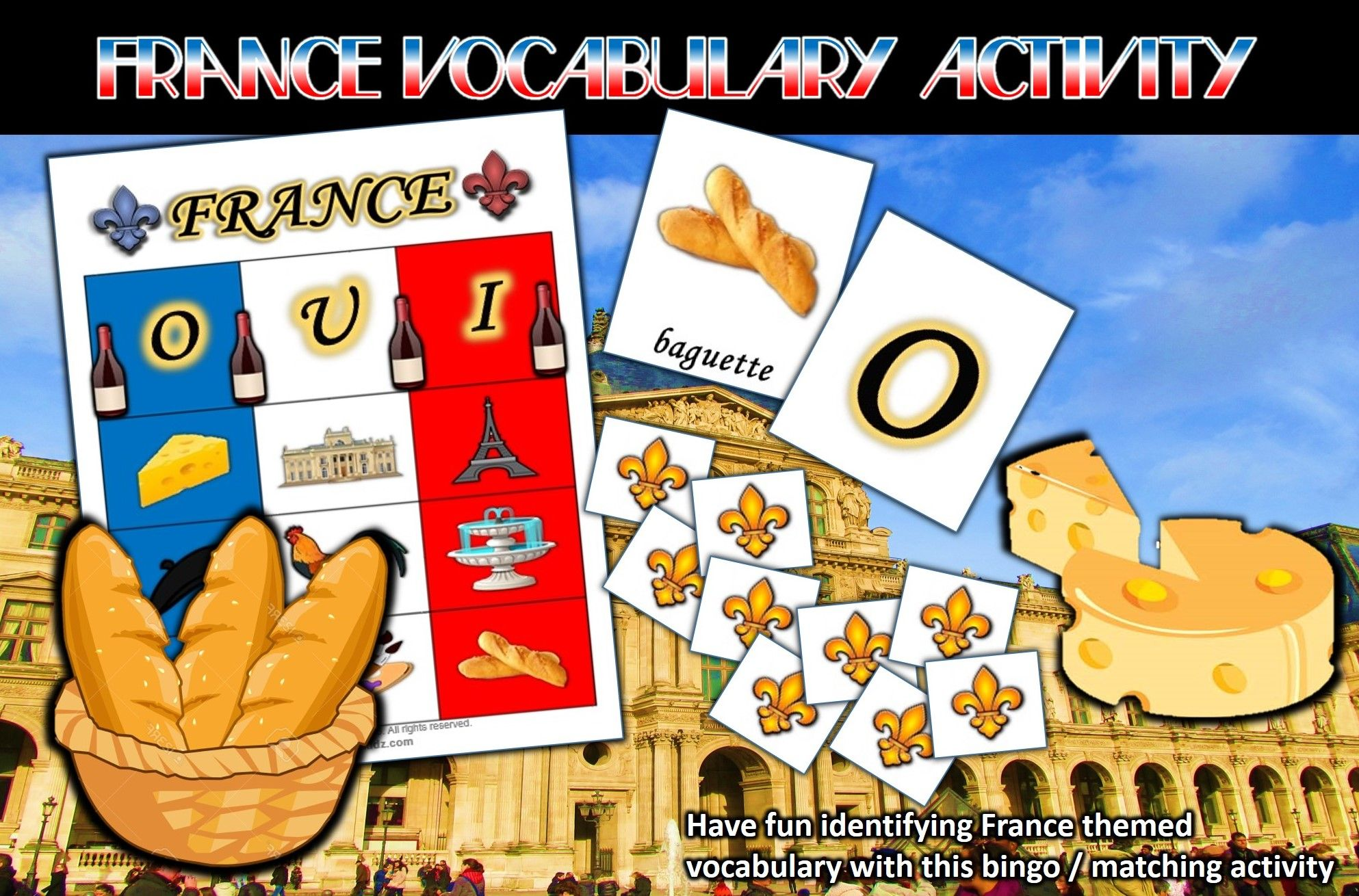 France Vocabulary Bingo Matching Activity For Young