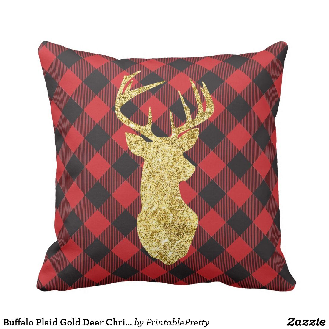 Peachy Buffalo Plaid Gold Deer Christmas Throw Pillow Zazzle Com Inzonedesignstudio Interior Chair Design Inzonedesignstudiocom