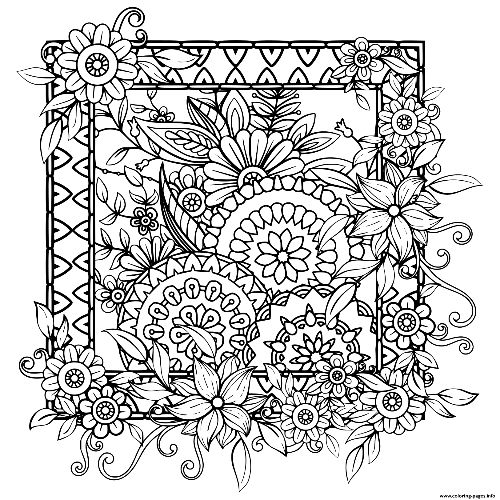 Print Adult With Flowers Pattern Black And White Doodle Wreath