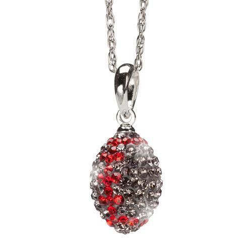 Gray and Red Crystal Football Charm Pendant Necklace