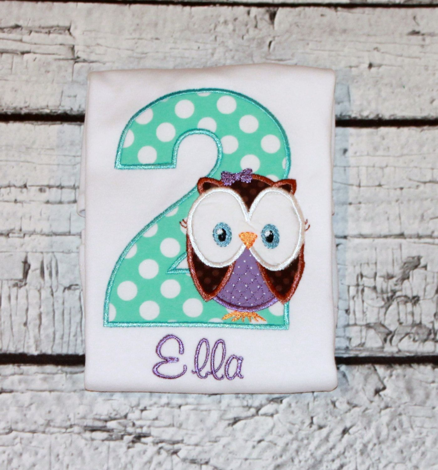 Girl's Owl Birthday Shirt, Woodland Birthday, Forest Birthday, Look Whoo's One, Personalize with your choice of fabric and thread colors by thesimplyadorable on Etsy