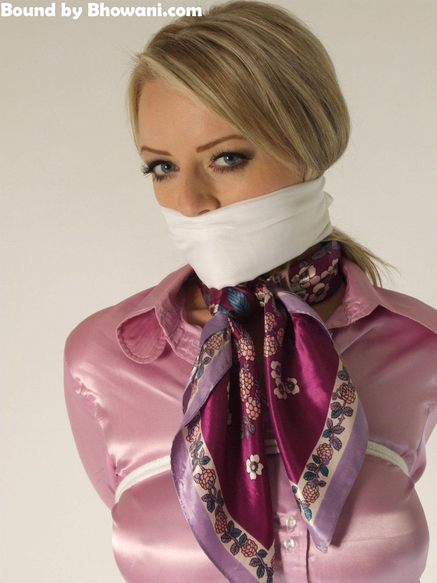 Satin scarf bondage