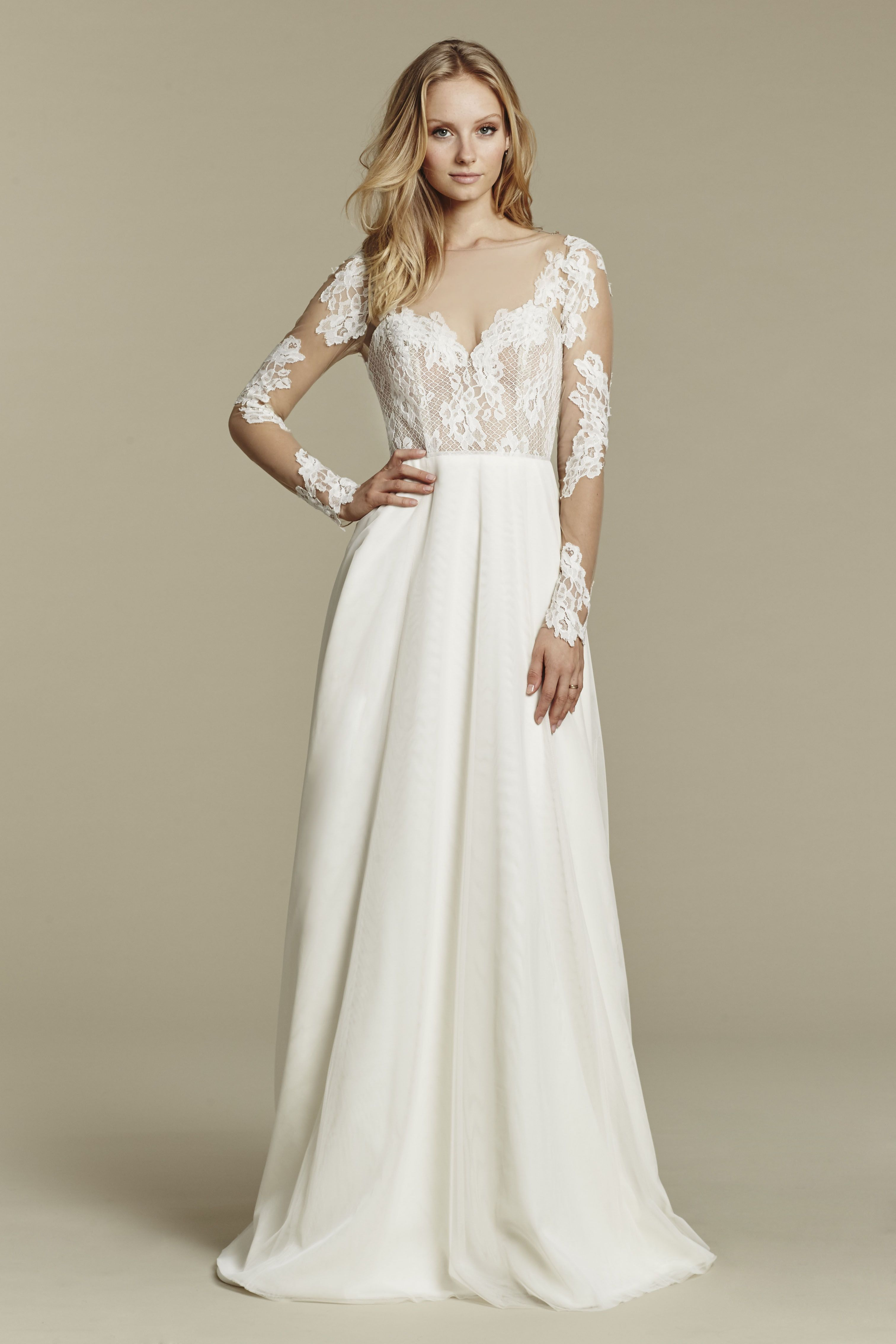 Ginger1604 ivory long sleeve lace aline bridal gown