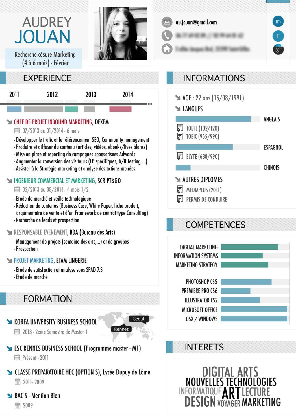 Loft Resumes Free Download Infographic Resume Cv Audrey Organized Professional