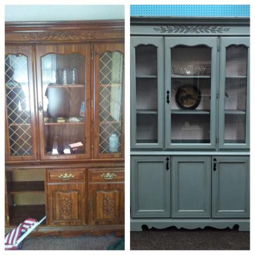 Vickie Shepard‎ gave this china closet a makeover with some Vintage Duck Egg.