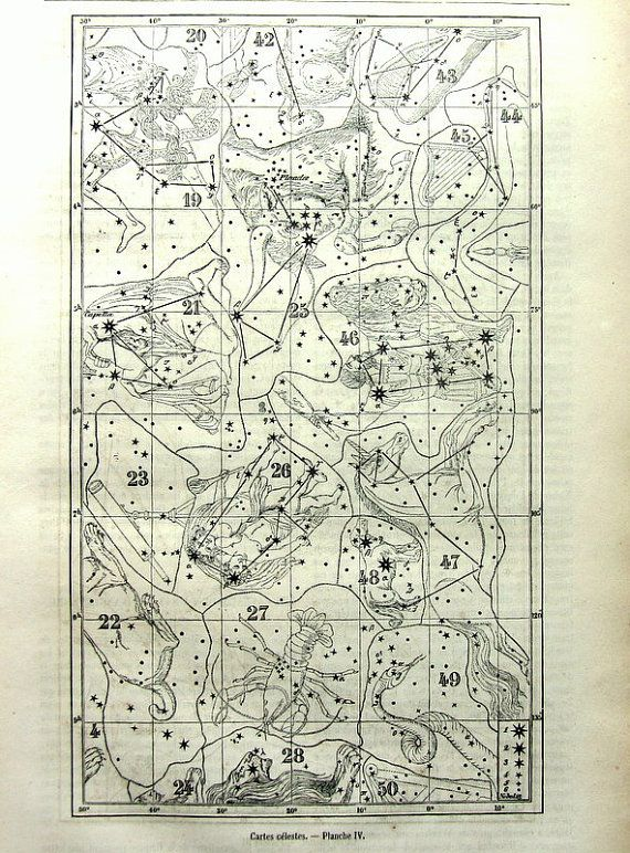 Diagramme de constellation antique superbe impression, 1865 original ...