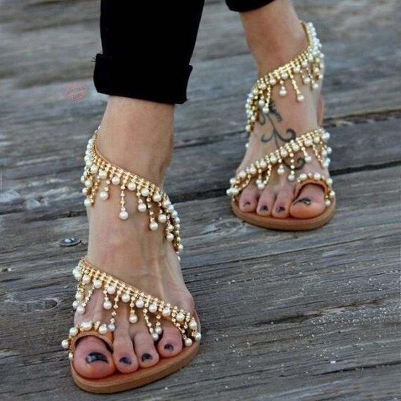 Bridal Shoes Boho: Vintage Fashion Women Leather Beading Flat Sandals Women