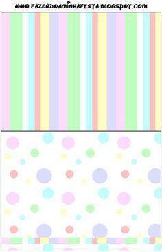 Colorido Pastel Poá e Listras - Kit Completo com molduras para convites, rótulos para guloseimas, lembrancinhas e imagens!