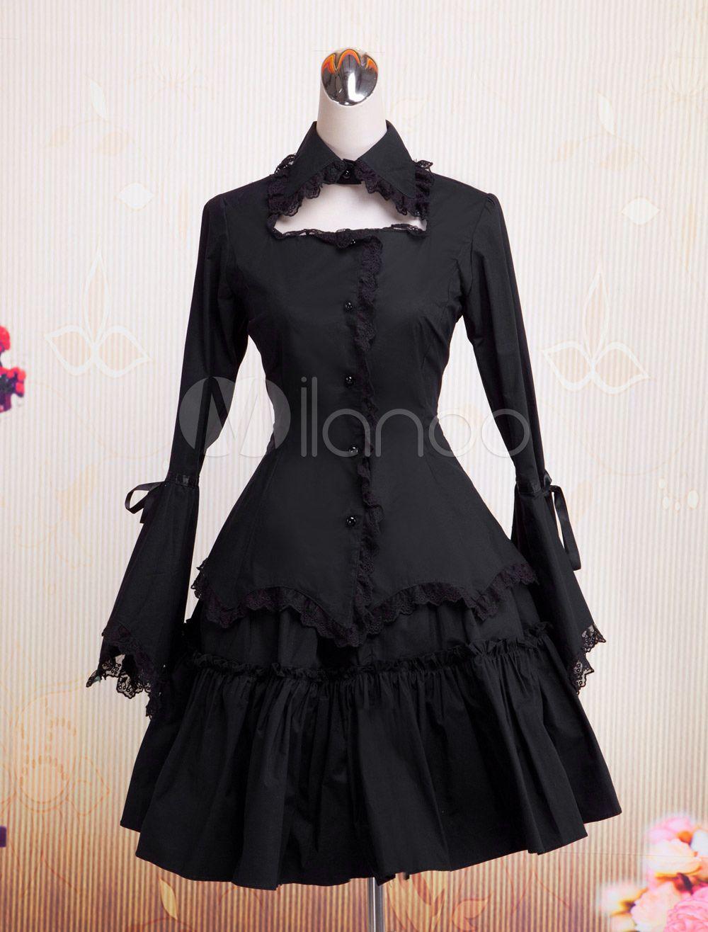 Gothic lolita dress op black long hime sleeves ruffles lace trim