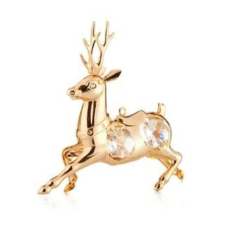 Matashi 24k Goldplated Genuine Crystals Reindeer Ornament