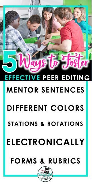 "5 Ways to Foster Effective Peer Editing is part of Peer editing, English language arts classroom, English language arts high school, English teacher high school, High school writing, High school language arts - When I teach writing in my classroom, I teach it as a process  Every part of the writing process, from the initial brainstorming to peer editing, is equally important and integrally essential to the final draft  All too often, students flounder when it comes to peer editing essays  Not only is it confusing for students, but they often lack the direction and skills that they need to successfully peer edit a paper  Simply designating a day for either peer editing and giving each student a red pen and free range to check his or her best friend's paper is not enough  When it comes to peer editing, students need direction and focus  Here are FIVE ways to make peer editing successful in your class  1  Peer Edit with Mentor Sentences Peer editing with mentor sentences is a great way to not only teach students how to write correct and effective thesis statements and topic sentences, but it also guides students because they are looking for and correcting or complementing specific aspects of the essay  I like to do this peer editing activity when my students are still outlining their papers  This activity takes about 15 minutes to complete from start to finish, can easily be completed at the end of the class period, and provides students with critical feedback early in the writing process  To peer edit with mentor sentences, simply write or project a sample thesis statement and topic sentence (one, or one for each body paragraph) on the board  Then have students trade papers and instruct them to peer edit only the thesis statement and topic sentences  Students should use the mentor sentences as a guide to making sure that the thesis statement and topic sentences are accurate and complete  The thesis statement should include information about the topic of the essay, a strong verb, and supporting reasons  Similarly, the topic sentences should include a topic, strong verb, and a clause  When using this method of peer editing, it helps to color code the mentor sentences  Doing this provides extra support for struggling writers, and it especially helps them understand and identify each part of the thesis or topic sentence  2  Peer Edit in Different Colors Students are never too old to work with crayons  I love using crayons in my classroom or essay writing and peer editing  You can read this post about how to score free crayons for your classroom  When peer editing with colors, I like to designate colors for certain parts of the essay  Then, I have my peer editors underline each part of the essay with a certain color  For example, they will underline the thesis statement in red, topic sentence in orange, examples in blue, and commentary in green  From there, they will then look specifically at each part of the essay as designated by its color  3  Peer Edit with Stations and Rotations Ever since I started using my Peer Editing Stations and Rotations resource with my high school students, peer editing has become much simpler and more focused  To begin with, I introduce the concept of peer editing to all of my students with a PowerPoint that teaches about the process and why it is important  Then I explain that we will be going through a series of four rotations and that they will be sharing their paper with four different people  Once I explain the process, we begin the rotation  As students work their way through each rotation, I keep a todo checklist on the board for my students to follow  Each rotation asks students to peer edit something different in the essay  By doing this, students are very focused and they are editing with a purpose  The last rotation is a suggesting and complimenting rotation where students must provide thoughtful and helpful suggestions and compliments for the paper  This is especially helpful because it forces the peer reviewer to read with a critical eye, which then strengthens their own writing capabilities  You can purchase this resource HERE  4  Peer Edit Electronically If you are fortunate enough to have access to technology or be in a 11 digital classroom, you can take peer editing to a whole new level in Google Docs  When I use Google with my students for peer review, I instruct each student to change the editing setting from ""editing"" to ""suggesting "" That way the peer reviewer can type directly in the document without changing the original content  One of the benefits of peer editing digitally is that students can plug the essay into grammar checking websites like grammarly com or polishmywriting com to help them provide meaningful suggestions when it comes to grammar, spelling, and style  5  Peer Edit with Forms and Rubrics One of the best and most tried and true ways to help students complete peer editing is by providing them with some sort of checklist, form, or even a rubric  I use my Peer Editing Made Easy forms in my classroom when we don't have time to run through the rotations  These forms are detailed and provide students with specific information to look for  Plus, there is a peer editing form for all of your writing needs  When peer editing this way, it is also helpful to provide the peer editors with a copy of the rubric you will use to grade the essays  By doing so, the reviewer is looking specifically at different elements within an essay with a critical eye  As with any portion of the writing process, I always assign points and a grade for peer editing  Usually, these points are merely participation points, but by doing so, I show the students that I value peer editing as part of the writing process"