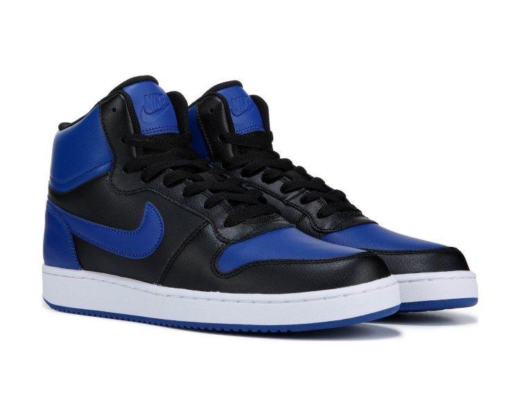 blue black and white nike high tops