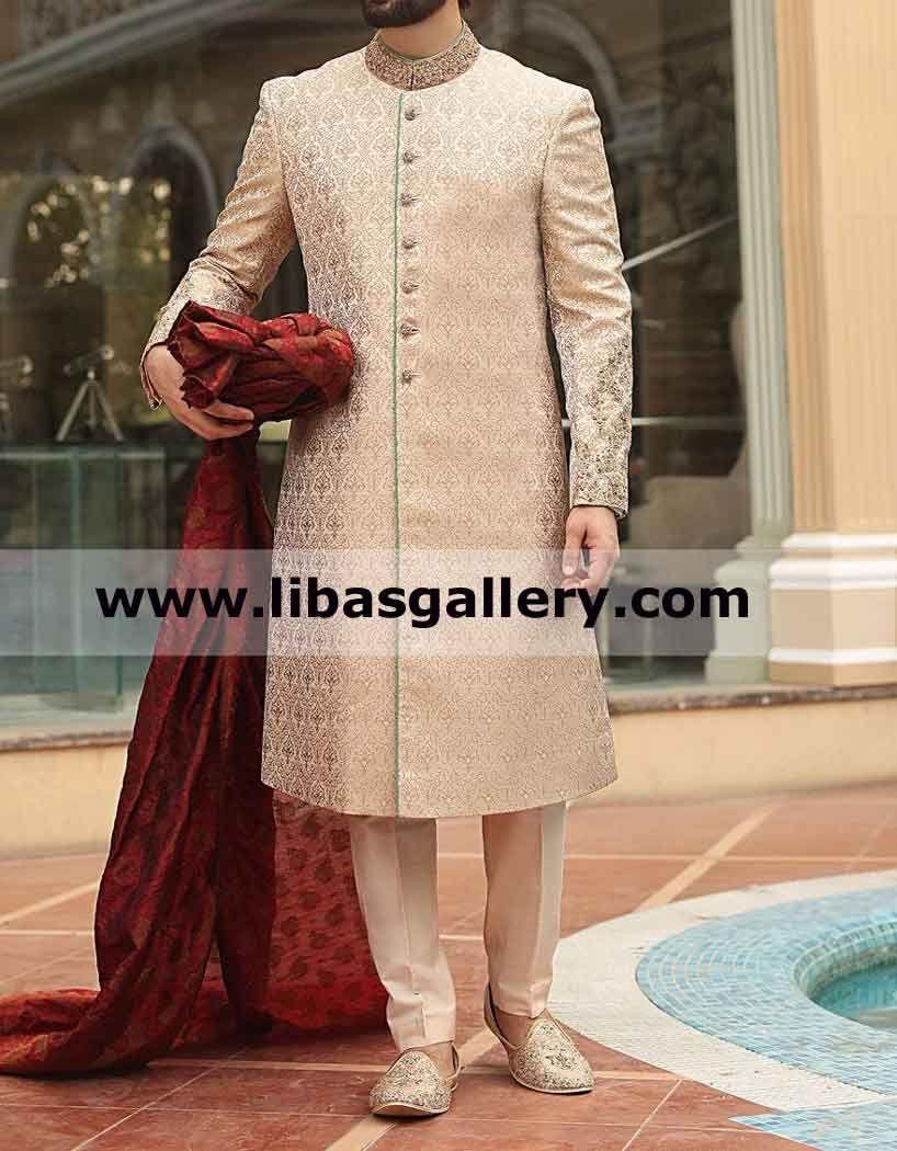 Beautiful Jamawar Wedding Sherwani Buy Sherwani With Red Pre Tied Jamawar Turban Paksitan India Uae Wedding Sherwani Wedding Kurta For Men Sherwani