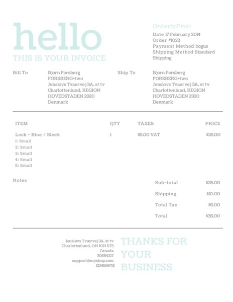 Hello Pastel Invoice Template Design For Shopify Order Printer - Shopify invoice template