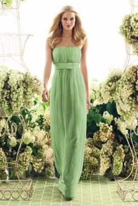 Green sleeveless A-line strapless pleated floor Bridesmaid Dress BD249006