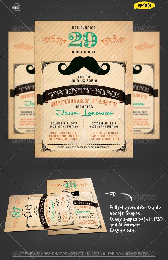 Funny Mustache-Birthday Invitation Card Mustache birthday - birthday invitation card template photoshop