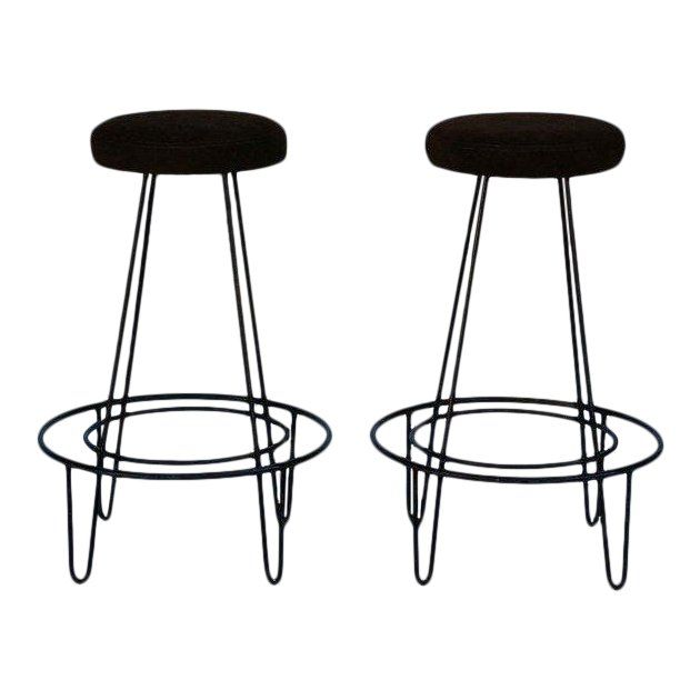 Tremendous 1950S Minimalistic Bar Stools With Brown Suede Seats A Gmtry Best Dining Table And Chair Ideas Images Gmtryco