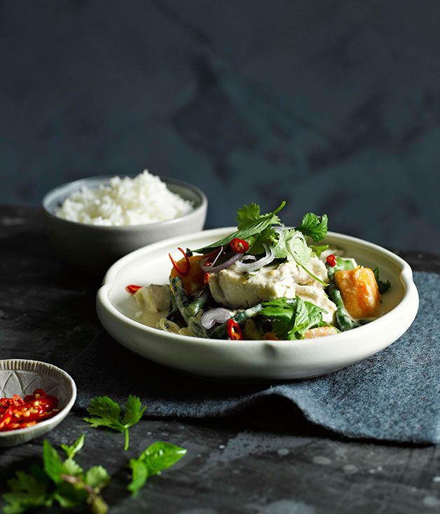 Coconut-poached barramundi with pumpkin and snake beans - Gourmet Traveller