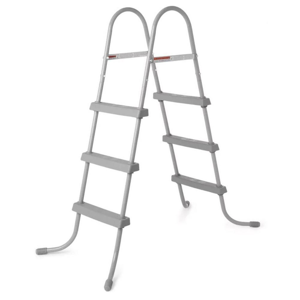 Bestway 36 In Steel Above Ground Swimming Pool Ladder No Slip Steps 58334e Bw The Home Depot Pool Ladder Swimming Pool Ladders Above Ground Swimming Pools