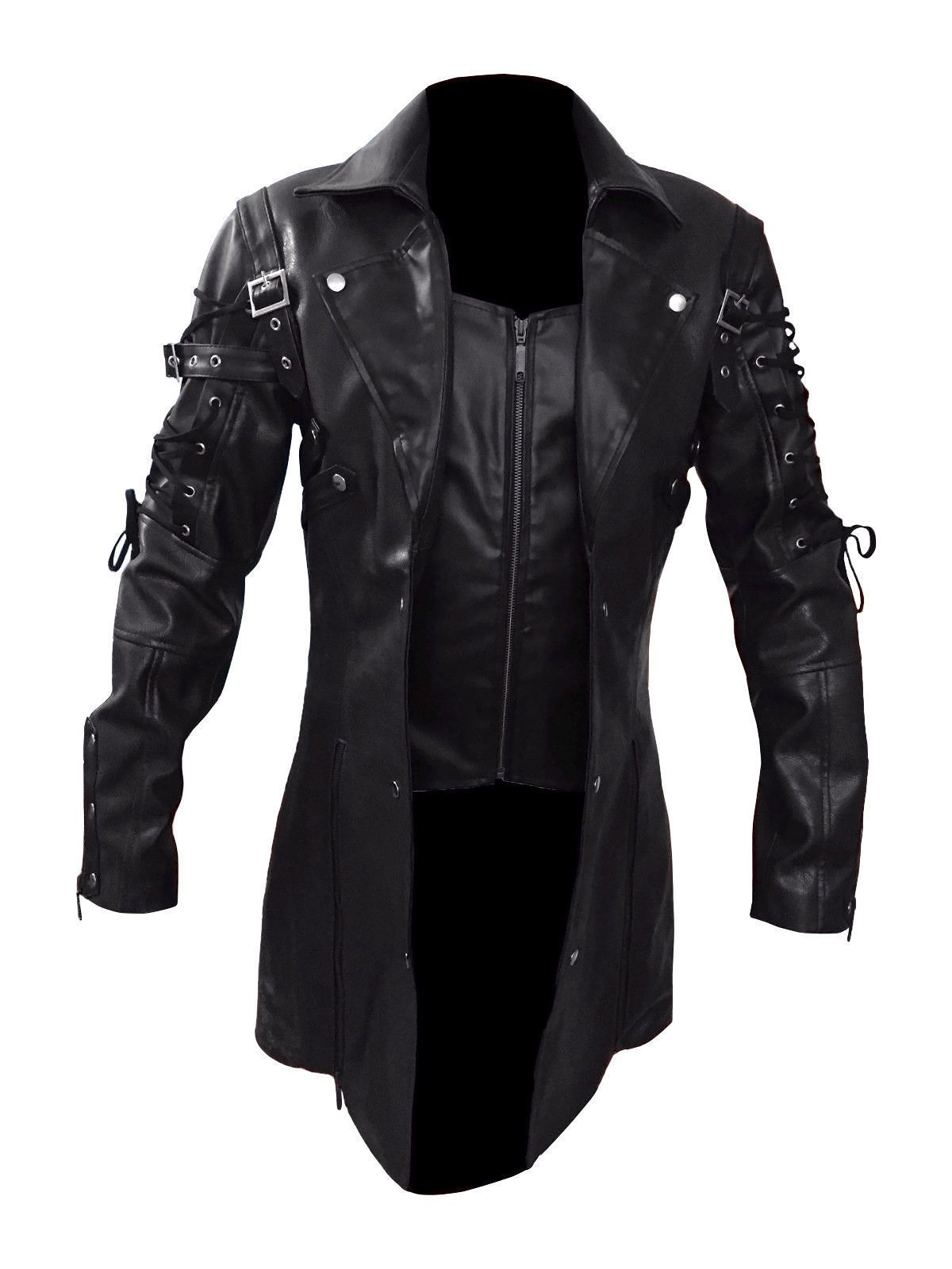 Stylish and Funky Steampunk Men's Gothic Trench Coat