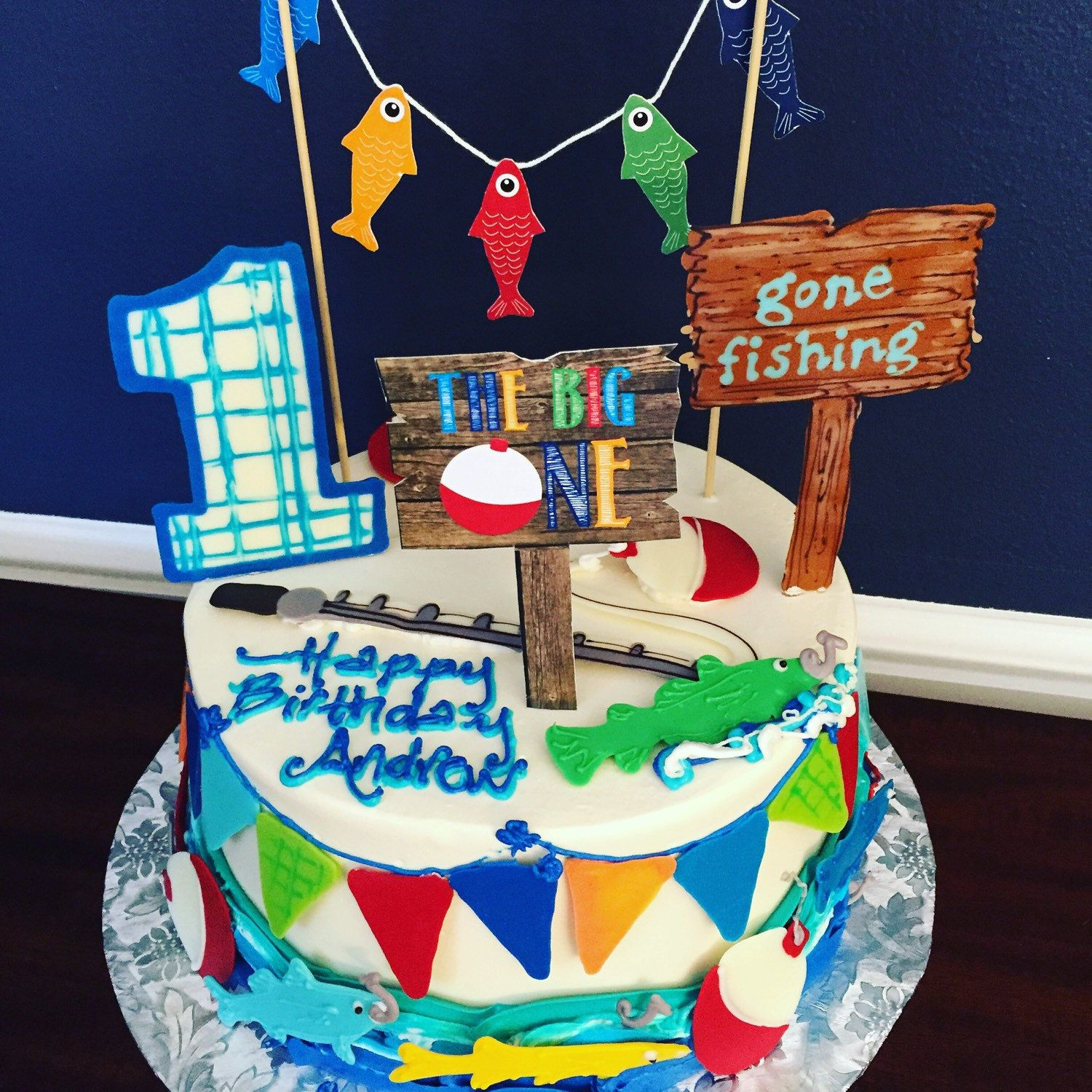 This fishing cake is so adorable Gone Fishing Cake Topper