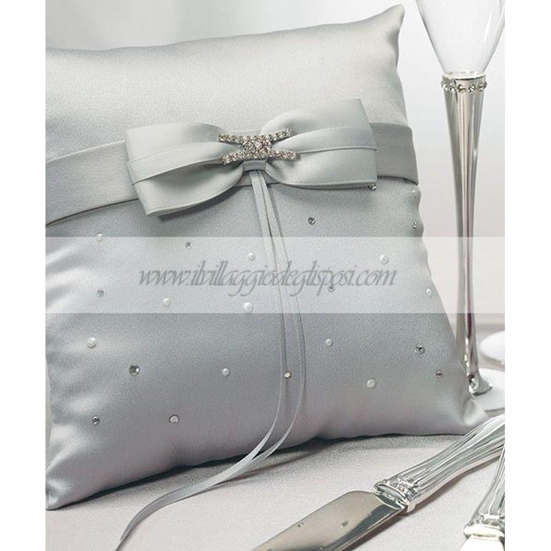 Vendita On Line Cuscini.Vendita Online Cuscino Fedi In Raso Grigio Silver Ring Pillow