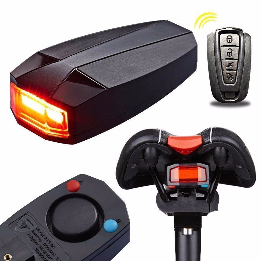 3 In 1 Fahrradalarmanlage Alarmschloss Fahrrad Lampe Ra Cklicht Leuchte Licht Fahrrad Alarmschloss Fahrradalarmanlage Bike Tail Light Bicycle Remote Control