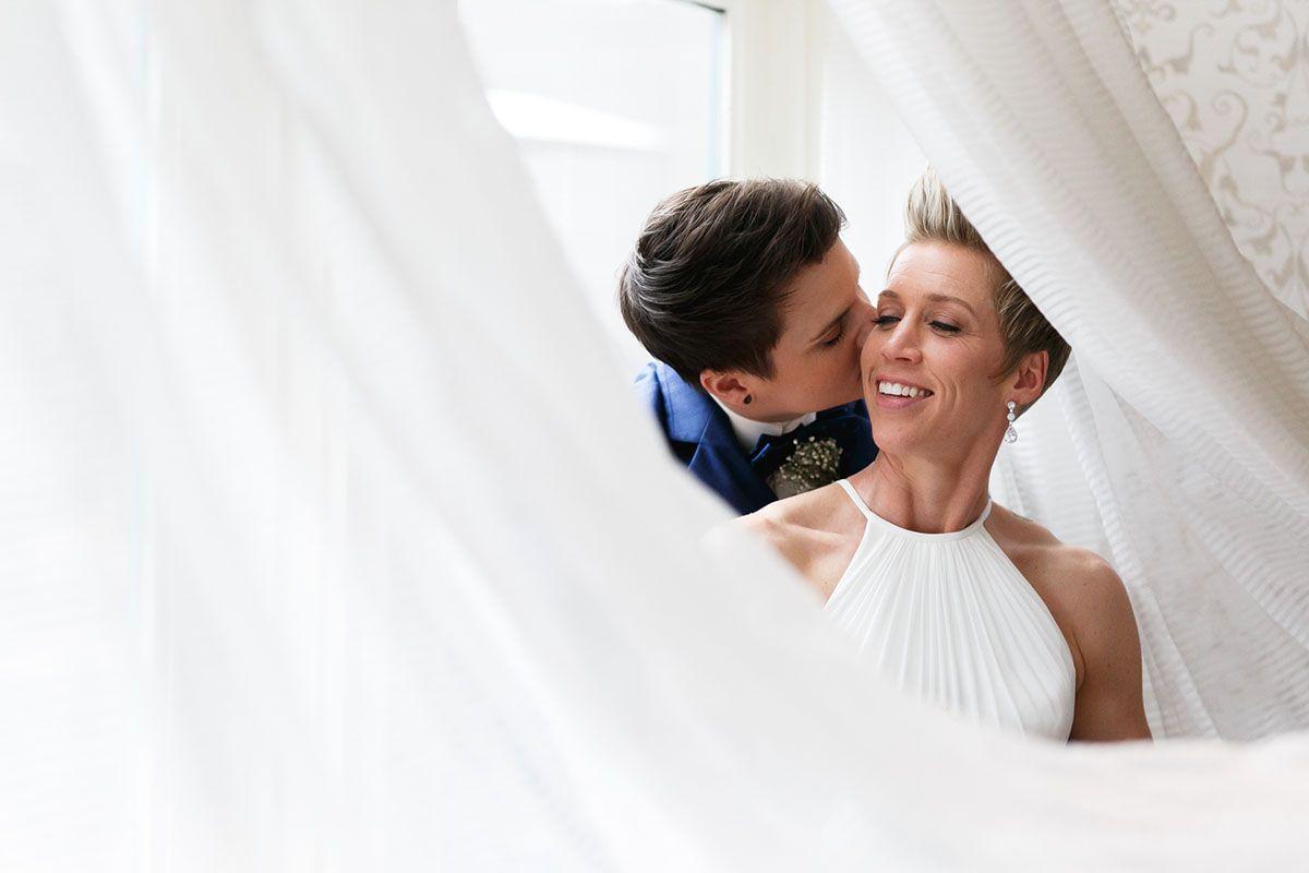 Classy modern friday night wedding real weddings gay lesbian