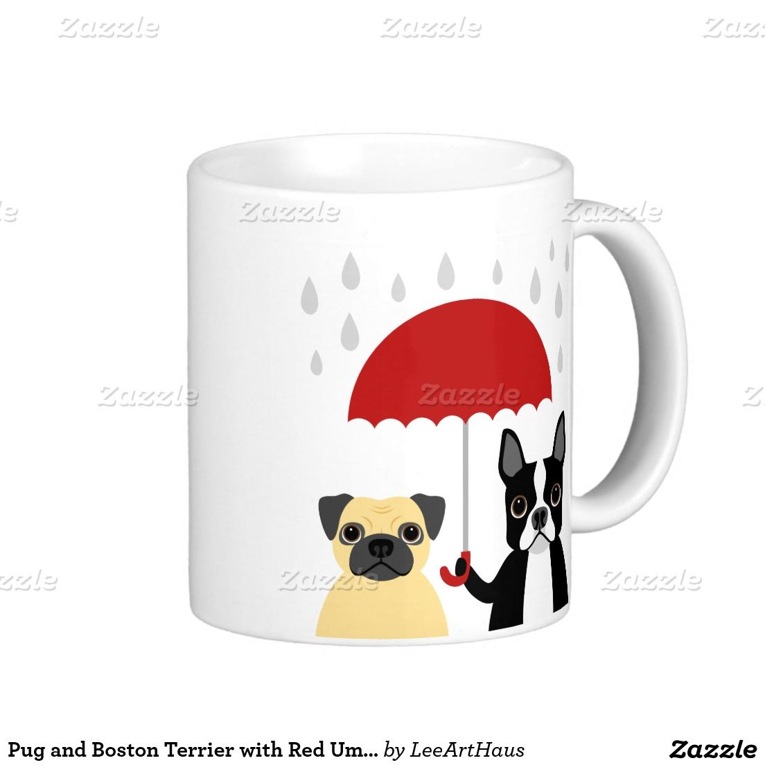 Pug and boston terrier with red umbrella classic white coffee mug