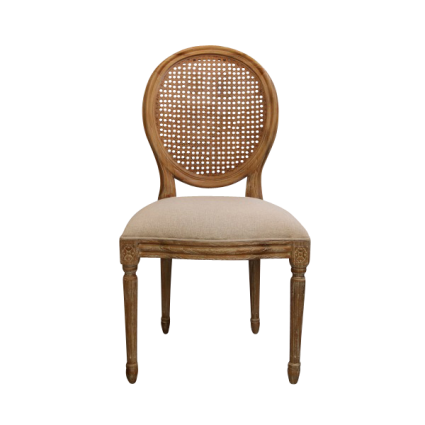 French Louis Rattan Balloon Back Dining Chair In Light Oak