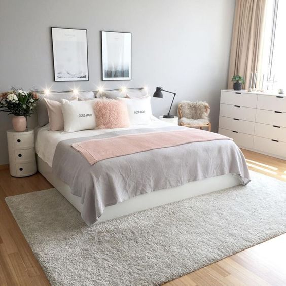 Pink White And Grey Girl S Bedroom Pastel Bedroom Decor Inspiration Small Bedroom Ideas Bedroom Girl Bedroom Decor Pink Bedrooms Small Apartment Decorating