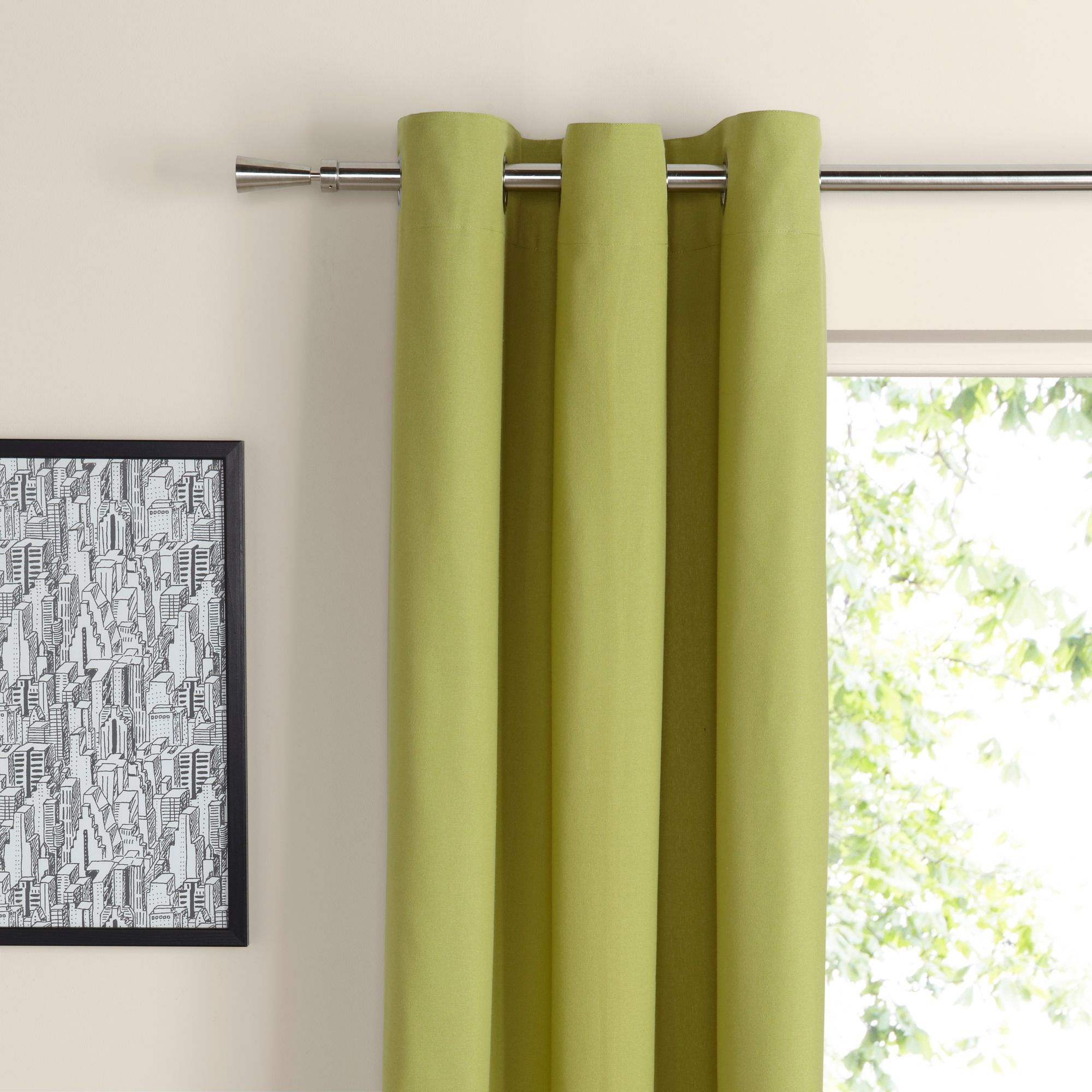 Zen Lime Plain Eyelet Curtains (W)167 cm (L)183 cm
