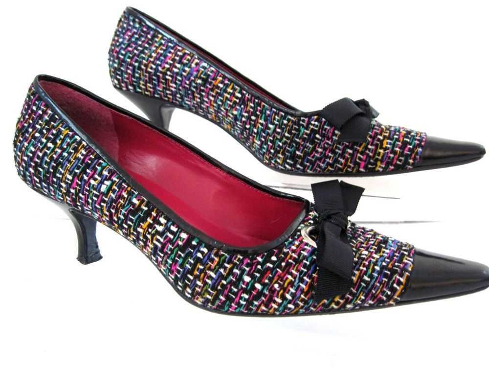 ENZO ANGIOLINI Multi Color Fabric Pointed Leather Cap Toe w/ Bow Heels SZ 8.5 M