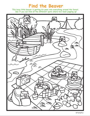 hidden picture and coloring page spot the beavers printable activity for kids - Printable Hidden Pictures For Kids