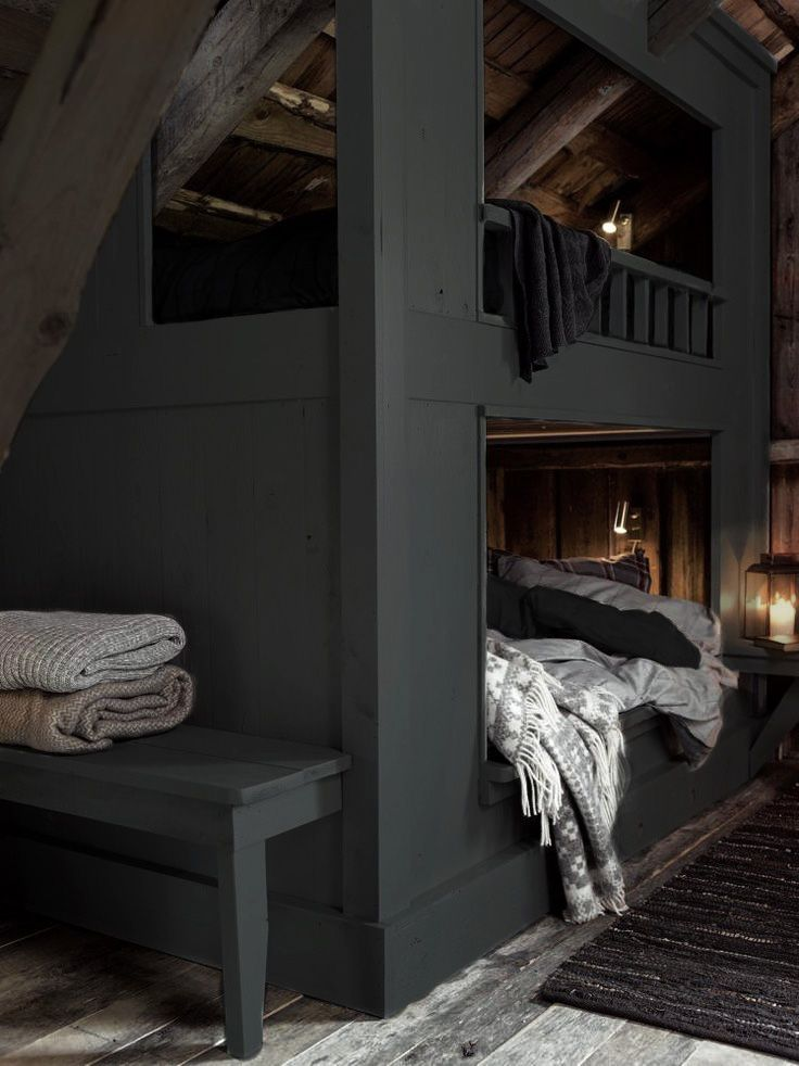 Charcoal Bunk Bed In The Attic