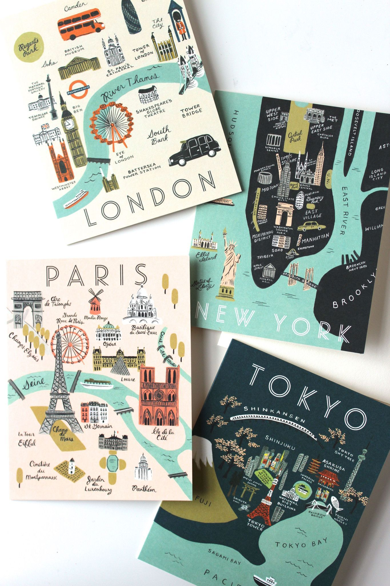 City Map Greeting Cards, Boxed Set of 8