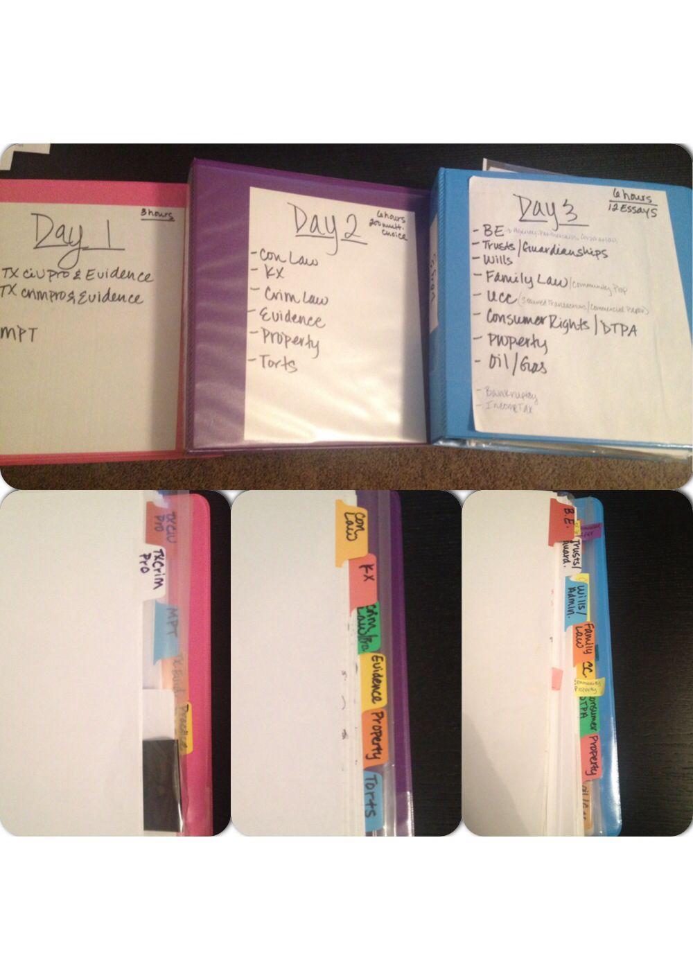Texas bar prep organization binders for each day; tabs