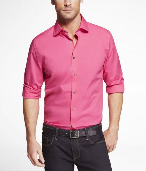 Express Mens 1Mx Fitted Spread Collar Shirt Neon Pink Button Down ...