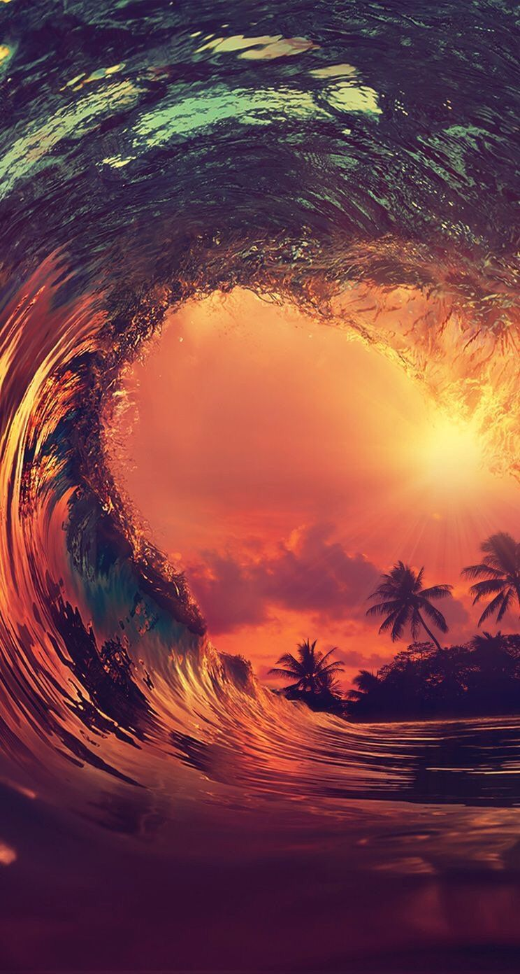 iphone and android wallpapers: sunset wave wallpaper for iphone and