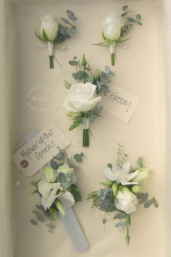 Classic White Rose and Eucalyptus Buttonholes \ Corsages by Wedding - fresh blueprint events pictures