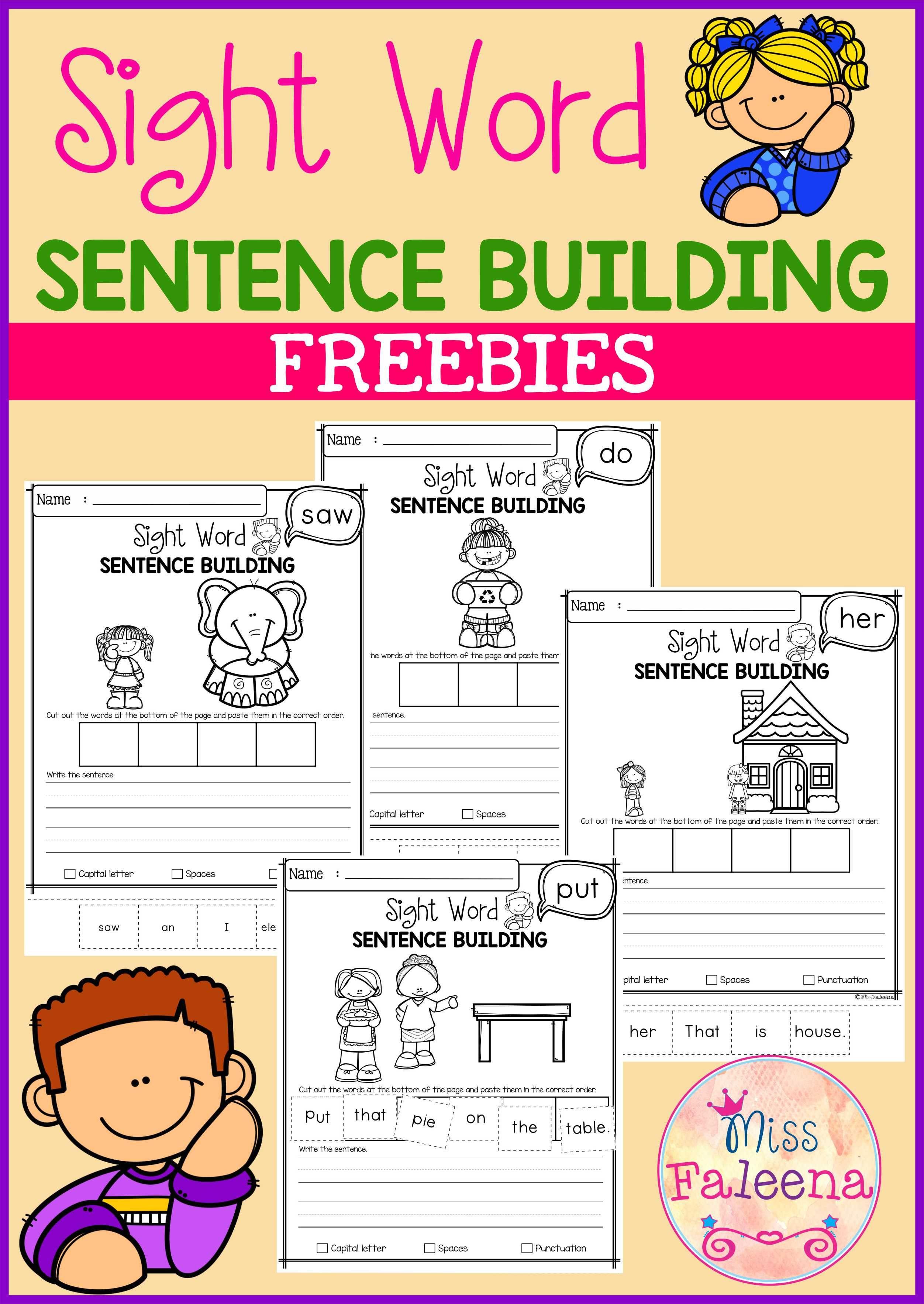 Free Sight Word Sentence Building