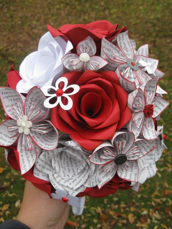Custom Paper Flower Wedding Bouquets You Pick The Colors Papers